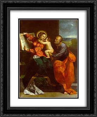 The Holy Family 20x24 Black or Gold Ornate Framed and Double Matted Art Print by Dosso Dossi