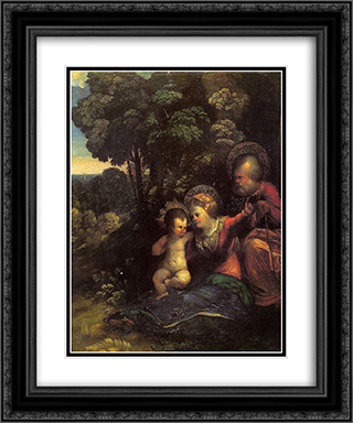 The Rest on The Flight into Egypt 20x24 Black or Gold Ornate Framed and Double Matted Art Print by Dosso Dossi