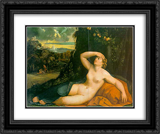 Venus Awakened by Cupid 24x20 Black or Gold Ornate Framed and Double Matted Art Print by Dosso Dossi
