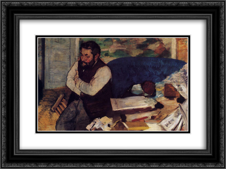 Diego Martelli 24x18 Black or Gold Ornate Framed and Double Matted Art Print by Edgar Degas