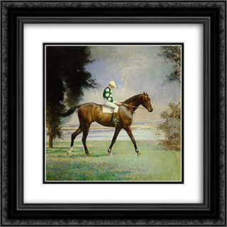 Thoroughbred with Jockey up 20x20 Black or Gold Ornate Framed and Double Matted Art Print by Edmund Charles Tarbell