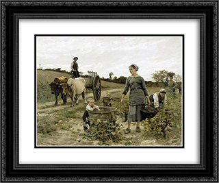 Coin de vigne 24x20 Black or Gold Ornate Framed and Double Matted Art Print by Edouard Debat Ponsan