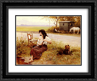 La Gitane A La Toilette 24x20 Black or Gold Ornate Framed and Double Matted Art Print by Edouard Debat Ponsan