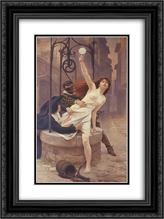 La Verite sortant du puits 18x24 Black or Gold Ornate Framed and Double Matted Art Print by Edouard Debat Ponsan