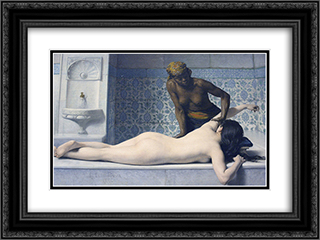 Le Massage au Hamam 24x18 Black or Gold Ornate Framed and Double Matted Art Print by Edouard Debat Ponsan