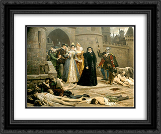 Un matin devant la porte du Louvre 24x20 Black or Gold Ornate Framed and Double Matted Art Print by Edouard Debat Ponsan