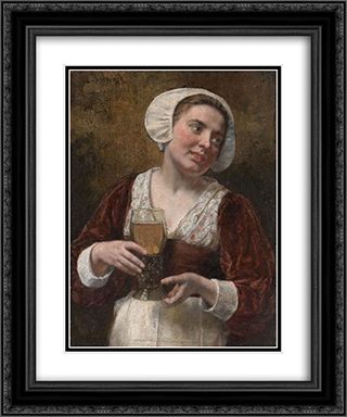 A Young Woman With A Wineglass 20x24 Black or Gold Ornate Framed and Double Matted Art Print by Eduard von Gebhardt