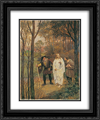 CHRISTUS UND DIE JuNGER VON EMMAUS 20x24 Black or Gold Ornate Framed and Double Matted Art Print by Eduard von Gebhardt