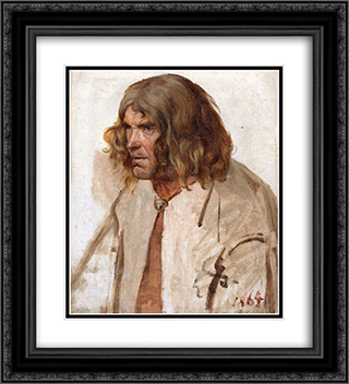 Estonian peasant 20x22 Black or Gold Ornate Framed and Double Matted Art Print by Eduard von Gebhardt