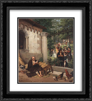 Lazarus and the Rich Man 20x22 Black or Gold Ornate Framed and Double Matted Art Print by Eduard von Gebhardt