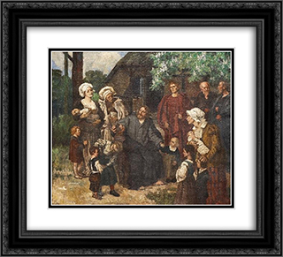 Let the Little Children Come Unto Me 22x20 Black or Gold Ornate Framed and Double Matted Art Print by Eduard von Gebhardt