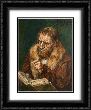 Man Reading 20x24 Black or Gold Ornate Framed and Double Matted Art Print by Eduard von Gebhardt