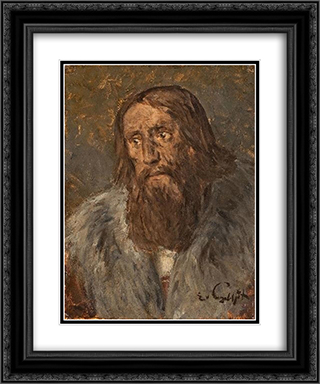 Portrait of a Bearded Man (Head of an Apostle) 20x24 Black or Gold Ornate Framed and Double Matted Art Print by Eduard von Gebhardt