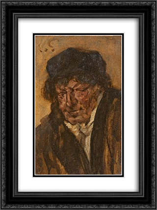 Portrait of a Man With Beret 18x24 Black or Gold Ornate Framed and Double Matted Art Print by Eduard von Gebhardt