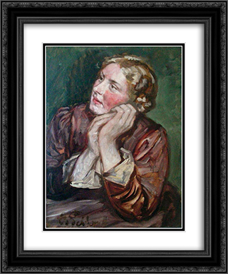 Portrait Of A Woman 20x24 Black or Gold Ornate Framed and Double Matted Art Print by Eduard von Gebhardt