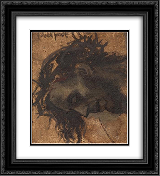 Study For The Head Of Christ In A Crucifixion 20x22 Black or Gold Ornate Framed and Double Matted Art Print by Eduard von Gebhardt