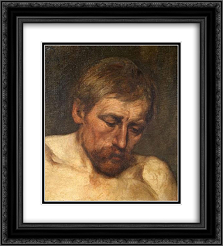 Study of a Head 20x22 Black or Gold Ornate Framed and Double Matted Art Print by Eduard von Gebhardt