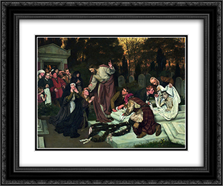 The Raising of Lazarus 24x20 Black or Gold Ornate Framed and Double Matted Art Print by Eduard von Gebhardt
