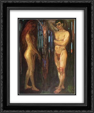 Adam and Eve 20x24 Black or Gold Ornate Framed and Double Matted Art Print by Edvard Munch