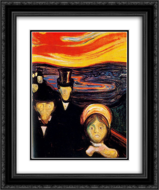 Anxiety 20x24 Black or Gold Ornate Framed and Double Matted Art Print by Edvard Munch