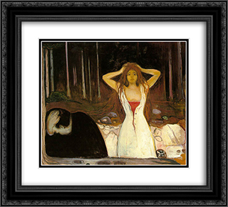 Ashes 22x20 Black or Gold Ornate Framed and Double Matted Art Print by Edvard Munch