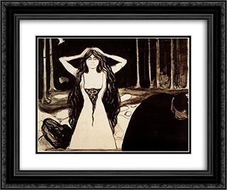 Ashes II 24x20 Black or Gold Ornate Framed and Double Matted Art Print by Edvard Munch
