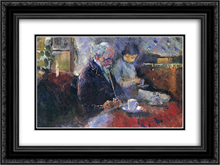 At the Coffee Table 24x18 Black or Gold Ornate Framed and Double Matted Art Print by Edvard Munch