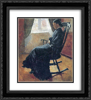 Aunt Karen in the Rocking Chair 20x22 Black or Gold Ornate Framed and Double Matted Art Print by Edvard Munch