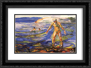 Bathing Man 24x18 Black or Gold Ornate Framed and Double Matted Art Print by Edvard Munch