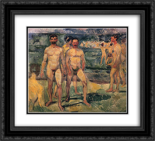 Bathing Men 22x20 Black or Gold Ornate Framed and Double Matted Art Print by Edvard Munch