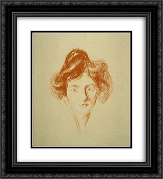 Berlin Girl 20x22 Black or Gold Ornate Framed and Double Matted Art Print by Edvard Munch