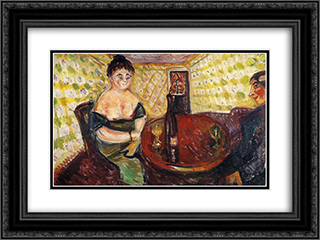 Brothel Scene. Zum sussen Madel 24x18 Black or Gold Ornate Framed and Double Matted Art Print by Edvard Munch