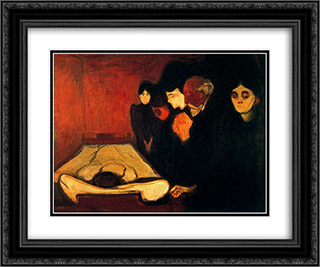 By the Deathbed (Fever) 24x20 Black or Gold Ornate Framed and Double Matted Art Print by Edvard Munch