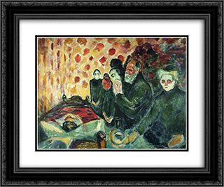 By the Deathbed (Fever) I 24x20 Black or Gold Ornate Framed and Double Matted Art Print by Edvard Munch