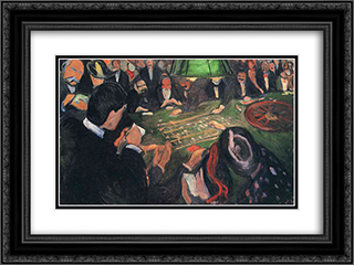 By the Roulette 24x18 Black or Gold Ornate Framed and Double Matted Art Print by Edvard Munch