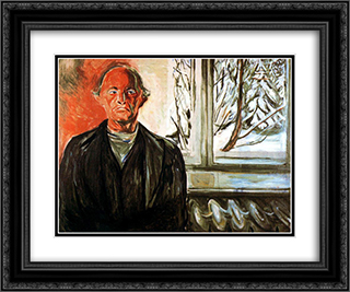 By the Window 24x20 Black or Gold Ornate Framed and Double Matted Art Print by Edvard Munch