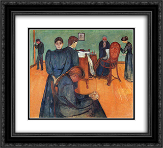 Death in the sickroom 22x20 Black or Gold Ornate Framed and Double Matted Art Print by Edvard Munch
