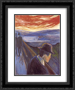 Despair 20x24 Black or Gold Ornate Framed and Double Matted Art Print by Edvard Munch