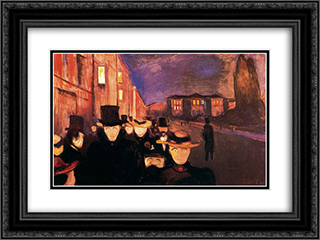 Evening on Karl Johan Street 24x18 Black or Gold Ornate Framed and Double Matted Art Print by Edvard Munch