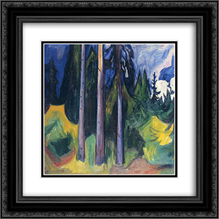 Forest 20x20 Black or Gold Ornate Framed and Double Matted Art Print by Edvard Munch