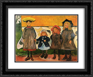 Four girls in Arsgardstrand 24x20 Black or Gold Ornate Framed and Double Matted Art Print by Edvard Munch