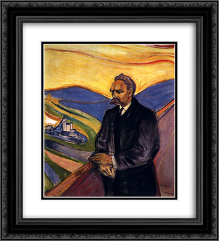 Friedrich Nietzsche 20x22 Black or Gold Ornate Framed and Double Matted Art Print by Edvard Munch