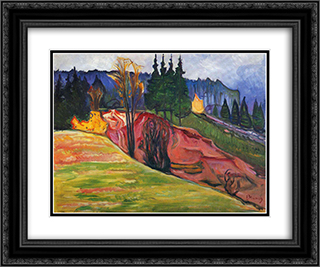 From Thuringewald 24x20 Black or Gold Ornate Framed and Double Matted Art Print by Edvard Munch
