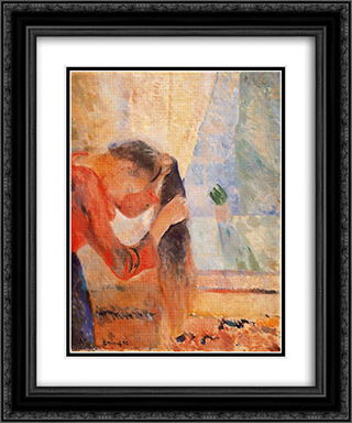 Girl Combing Her Hair 20x24 Black or Gold Ornate Framed and Double Matted Art Print by Edvard Munch