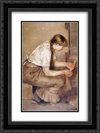 Girl Kindling a Stove 18x24 Black or Gold Ornate Framed and Double Matted Art Print by Edvard Munch