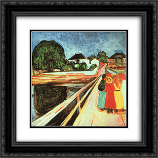 Girls on a Bridge 20x20 Black or Gold Ornate Framed and Double Matted Art Print by Edvard Munch