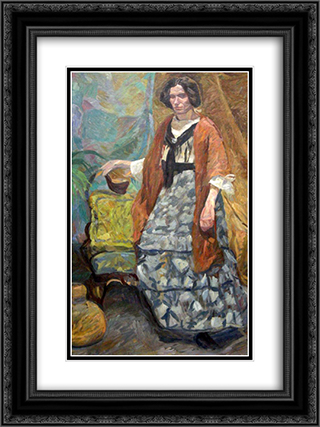 Interior with Artist's Sister, Emma Weie 18x24 Black or Gold Ornate Framed and Double Matted Art Print by Edvard Weie