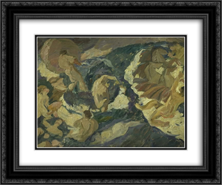 Poseidon farer over havet omgivet af nereider og tritoner 24x20 Black or Gold Ornate Framed and Double Matted Art Print by Edvard Weie