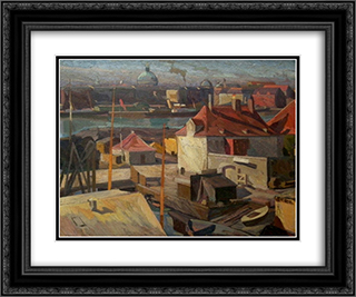 View over Wilder's Square, Christianshavn 24x20 Black or Gold Ornate Framed and Double Matted Art Print by Edvard Weie