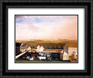 A May Morning View of the Farm and Stock of David Leedon 24x20 Black or Gold Ornate Framed and Double Matted Art Print by Edward Hicks